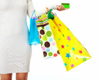Shopping woman with bags. Royalty Free Stock Photo
