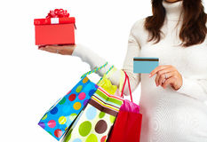 Shopping woman with bags. Stock Photography