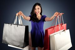 Shopping woman with a shopping bags royalty free stock photo