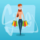 Shopping Woman with Bags Sale Royalty Free Stock Images