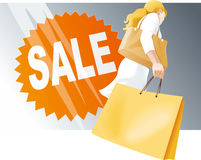 Shopping woman with bags, Sale Royalty Free Stock Photography