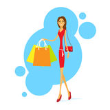 Shopping Woman with Bags Walking Isolated Vector Royalty Free Stock Images