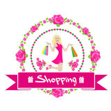 Shopping Woman With Bags Wear Pink Dress Rose. Flower Sale Banner Vector Illustration Stock Photos