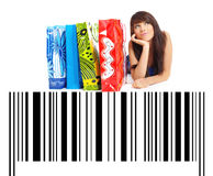 Shopping Woman on bar code background Stock Image