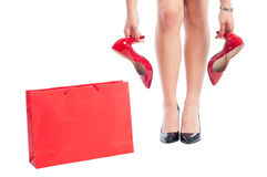 Shopping Woman Buying New Red Shoes Royalty Free Stock Image