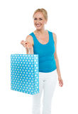 Shopping woman carrying bag, enjoying sale Stock Photos
