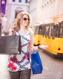 Shopping Woman in the City royalty free stock photos
