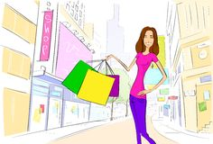 Shopping woman on city street street draw sketch Royalty Free Stock Photo