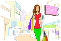 Shopping woman on city street street draw sketch Royalty Free Stock Image
