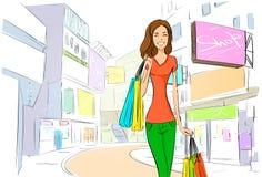Shopping woman on city street street draw sketch Stock Image