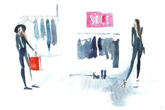 Shopping woman in clothing store Watercolor illustration Royalty Free Stock Image