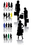 Shopping woman collection. Shopping woman vector silhouettes collection in different poses Stock Images