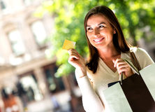 Shopping woman with credit card Stock Photo
