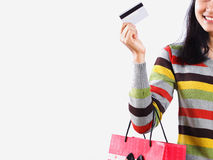 Shopping woman with a credit card Royalty Free Stock Images