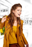 Shopping woman at a draw mall Stock Image