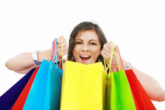 Shopping woman excited Stock Photo