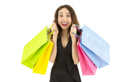 Shopping woman excited and happy Stock Images