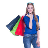 Shopping woman excited with shopping bags Stock Photo