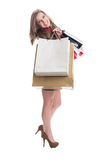Shopping woman expressing joy Stock Images