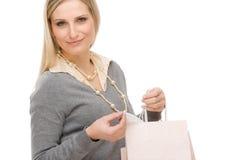 Free Shopping Woman Fashion Happy Bag Stock Image - 19009701