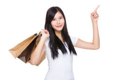 Shopping woman with finger up Stock Photography