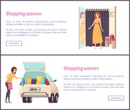 Shopping Woman in Fitting Room Trying on New Dress. Lady put packages into car, shopaholic in store vector web pages. Sale in clothes store shops posters stock illustration