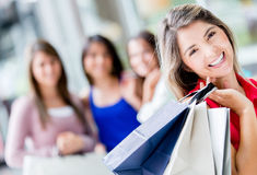 Shopping woman with friends Stock Photos