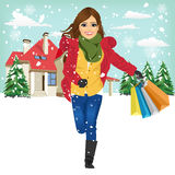Shopping woman with gift bag running joyful Royalty Free Stock Photo