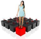 Shopping woman and graph percent Stock Image