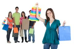 Shopping woman with a group Royalty Free Stock Image