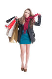 Shopping woman hanging herself with a scarf Royalty Free Stock Image