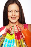 Shopping woman happy holding  bags. Stock Photos