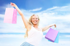 Shopping woman happy holding shopping bags Royalty Free Stock Image