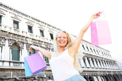 Shopping woman happy holding shopping bags, Venice Royalty Free Stock Images