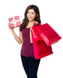 Shopping woman happy shopping bag and gift Stock Photo
