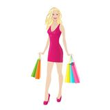 Shopping woman happy smiling holding colorful bags Royalty Free Stock Images
