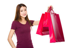 Shopping woman happy smiling holding shopping bag Royalty Free Stock Images