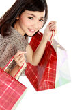Shopping woman happy smiling holding shopping bags Stock Image
