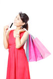Shopping woman happy take credit card and bag Stock Photo