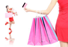Shopping woman happy take credit card and bag Stock Photos