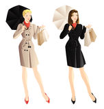 Shopping woman. Woman hold shopping bag in her hand. Smiling woman in trench-coat with umbrella Stock Images