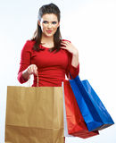 Shopping woman hold bags, portrait isolated. White background. Stock Image