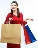 Shopping woman hold bags, portrait isolated Stock Image