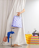 Shopping woman holding bag sale Royalty Free Stock Photos