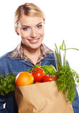 Shopping woman holding bags, Royalty Free Stock Images
