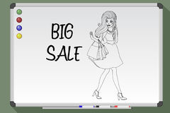 Shopping woman holding bags. Big sale. Stock Photos