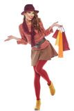 Shopping woman holding bags, Royalty Free Stock Image