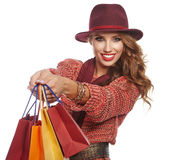 Shopping woman holding bags, Stock Photography
