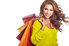 Shopping woman holding bags, Stock Images