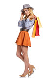 Shopping woman holding bags, Royalty Free Stock Photo